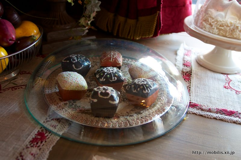雪の結晶模様のケーキ