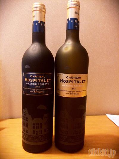 お土産用に購入した赤ワイン(左)とレストランで飲んだ白ワイン(右)