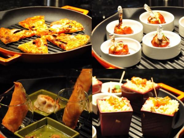 温かい食事のコーナーには餃子や春巻き、炒飯、肉料理など